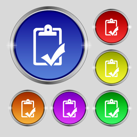 handout: Document grammar control, Test, work complete icon sign. Round symbol on bright colourful buttons. illustration Stock Photo