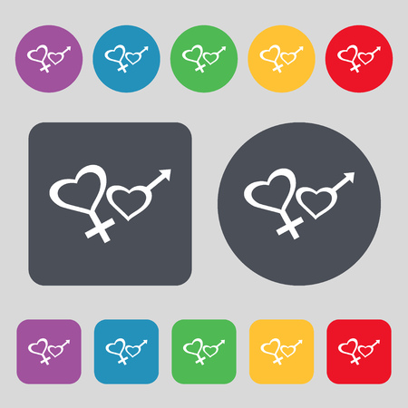 womanhood: Male and female icon sign. A set of 12 colored buttons. Flat design. illustration