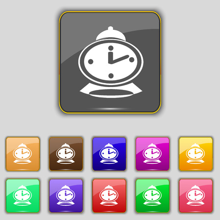 eleven: alarm clock icon sign. Set with eleven colored buttons for your site. illustration
