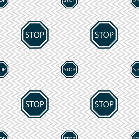 traffic ticket: Stop icon sign. Seamless pattern with geometric texture. illustration