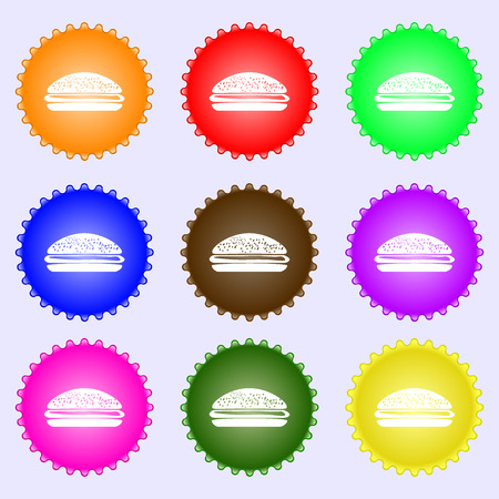 beefburger: Burger, hamburger icon sign. Big set of colorful, diverse, high-quality buttons. illustration