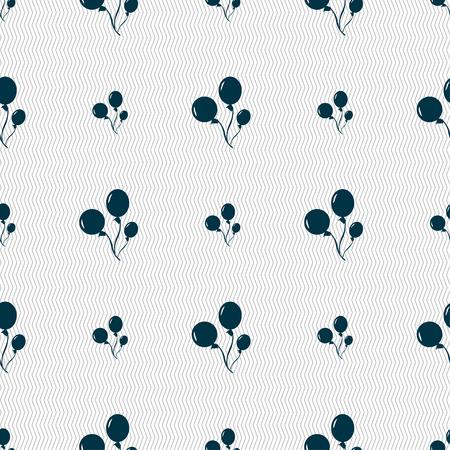 aerostatics: Balloons icon sign. Seamless pattern with geometric texture. illustration Stock Photo