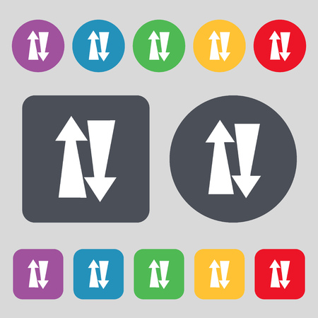 two way traffic: Two way traffic, icon sign. A set of 12 colored buttons. Flat design. illustration