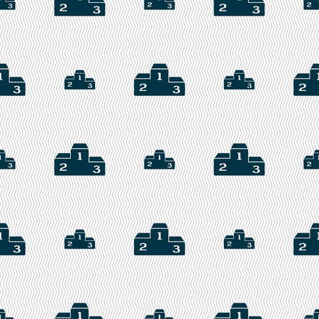 lustre: Podium icon sign. Seamless pattern with geometric texture. illustration