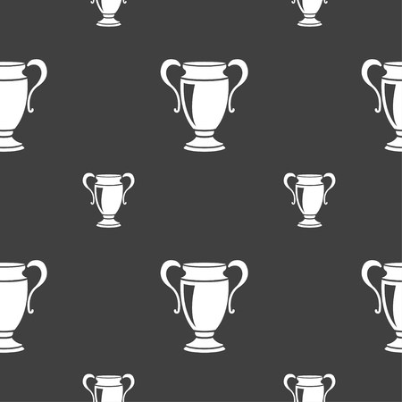 victor: Trophy icon sign. Seamless pattern on a gray background. illustration