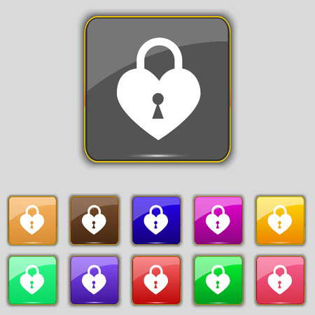 secret codes: Lock in the shape of heart icon sign. Set with eleven colored buttons for your site. illustration Stock Photo