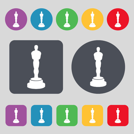 oscar: Oscar statuette icon sign. A set of 12 colored buttons. Flat design. illustration Stock Photo