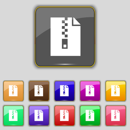 archive site: computer zip folder, archive icon sign. Set with eleven colored buttons for your site. illustration Stock Photo