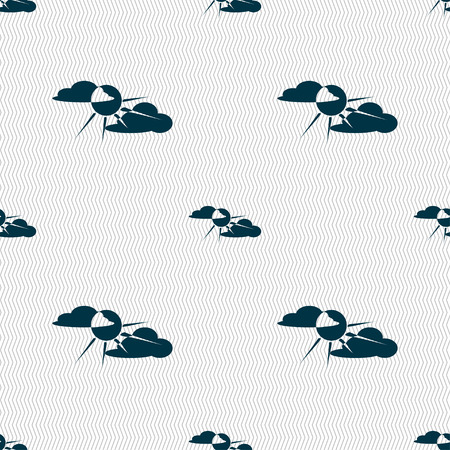 behind: sun behind cloud icon sign. Seamless pattern with geometric texture. illustration