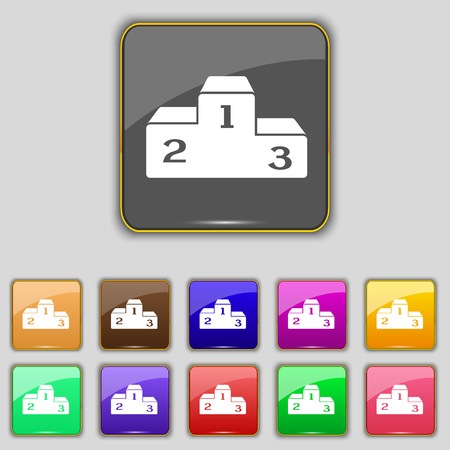 lustre: Podium icon sign. Set with eleven colored buttons for your site. illustration