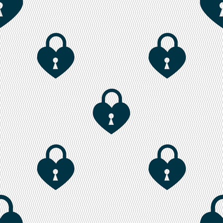 encryption icon: Lock in the shape of heart icon sign. Seamless pattern with geometric texture. illustration Stock Photo