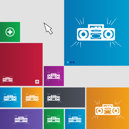portable audio: Radio cassette player icon sign. buttons. Modern interface website buttons with cursor pointer. illustration Stock Photo