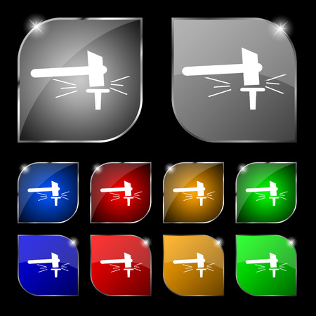 smithy: The smithy. Forge and stithy, blacksmith icon sign. Set of ten colorful buttons with glare. illustration Stock Photo