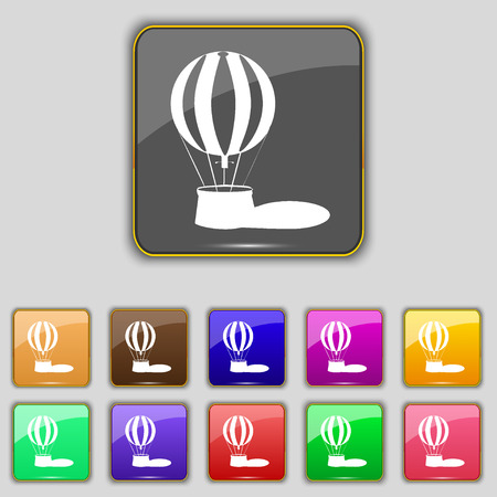 ballooning: Hot air balloon icon sign. Set with eleven colored buttons for your site. illustration Stock Photo