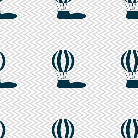 ballooning: Hot air balloon icon sign. Seamless pattern with geometric texture. illustration
