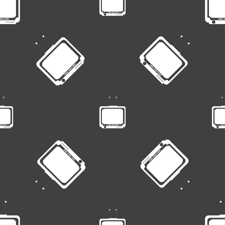 tv icon: TV icon sign. Seamless pattern on a gray background. illustration