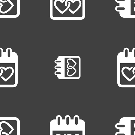 february 14: Calendar, heart, Valentines day, February 14, Love icon sign. Seamless pattern on a gray background. illustration
