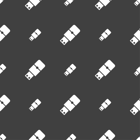 sumbol: USB flash icon sign. Seamless pattern on a gray background. illustration