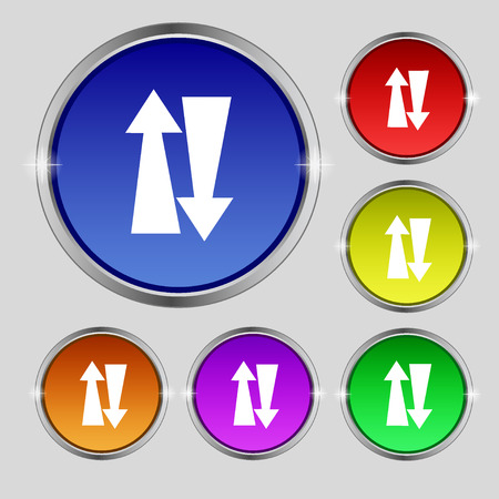 two way traffic: Two way traffic, icon sign. Round symbol on bright colourful buttons. illustration