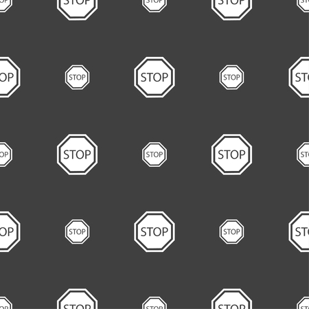 traffic ticket: Stop icon sign. Seamless pattern on a gray background. illustration