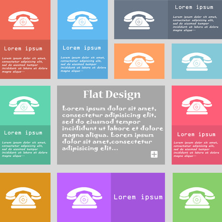 ring tones: Retro telephone icon sign. Set of multicolored buttons with space for text. illustration