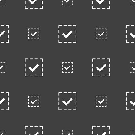 tik: Check mark, tik icon sign. Seamless pattern on a gray background. illustration