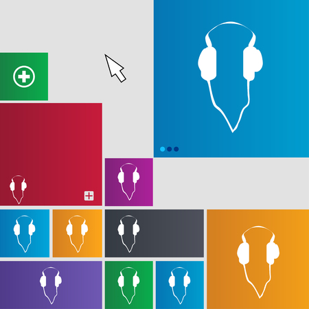 website buttons: headphones icon sign. buttons. Modern interface website buttons with cursor pointer. illustration Stock Photo
