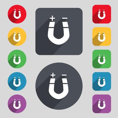 magnetismo: imán de herradura, el magnetismo, magnetizar, atracción icono de la muestra. Un conjunto de 12 botones de colores y una larga sombra. Diseño plano. ilustración Foto de archivo