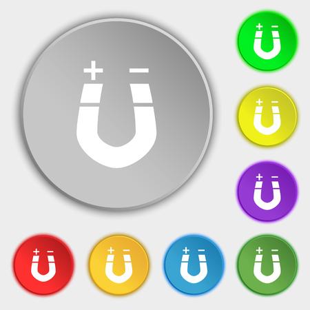 magnetismo: magnete a ferro di cavallo, il magnetismo, magnetizzare, attrazione icona segno. Simbolo su otto bottoni piatti. illustrazione