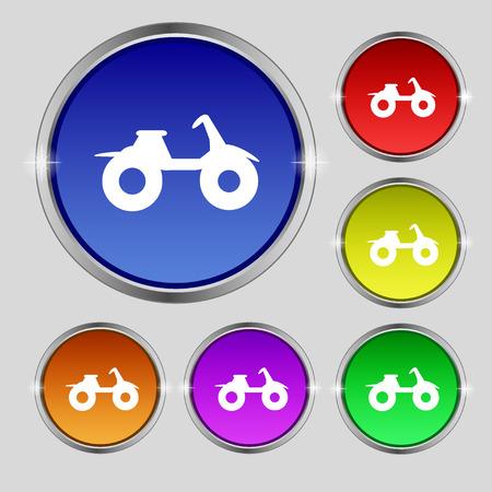 atv: ATV icon sign. Round symbol on bright colourful buttons. illustration Stock Photo