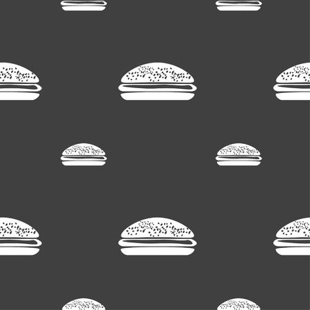 beefburger: Burger, hamburger icon sign. Seamless pattern on a gray background. illustration