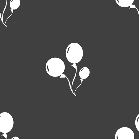 Balloons icon sign. Seamless pattern on a gray background. illustration