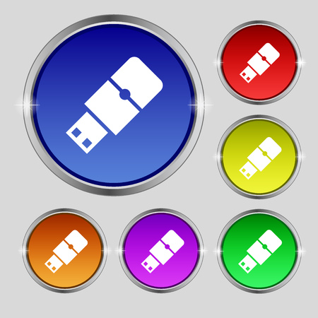 sumbol: USB flash icon sign. Round symbol on bright colourful buttons. illustration
