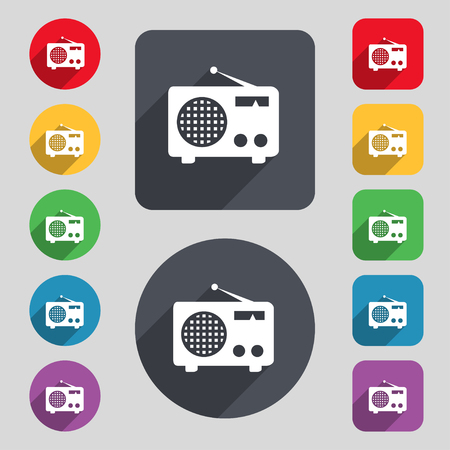 fm: Retro radio icon sign. A set of 12 colored buttons and a long shadow. Flat design. illustration