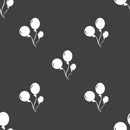 medium group of object: Balloons icon sign. Seamless pattern on a gray background. illustration