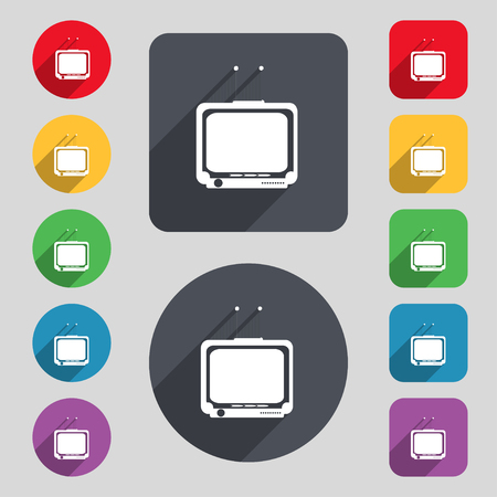 tvset: TV icon sign. A set of 12 colored buttons and a long shadow. Flat design. illustration