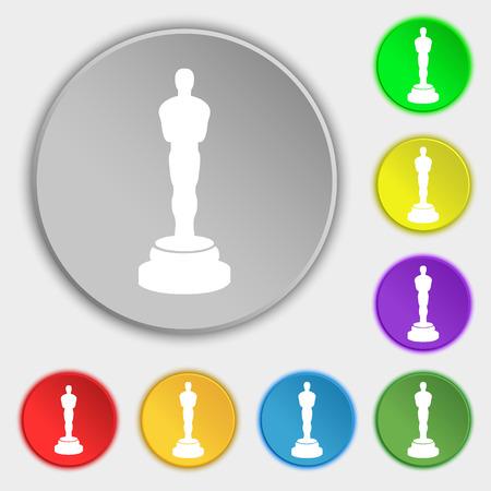 oscar: Oscar statuette icon sign. Symbol on eight flat buttons. illustration