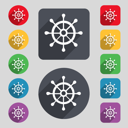 piloting: ship helm icon sign. A set of 12 colored buttons and a long shadow. Flat design. illustration Stock Photo