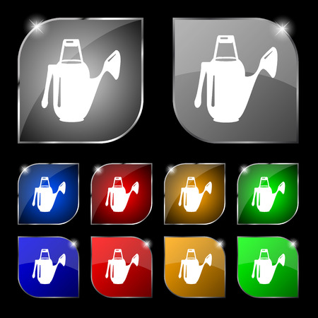 seeding: Watering can icon sign. Set of ten colorful buttons with glare. illustration Stock Photo
