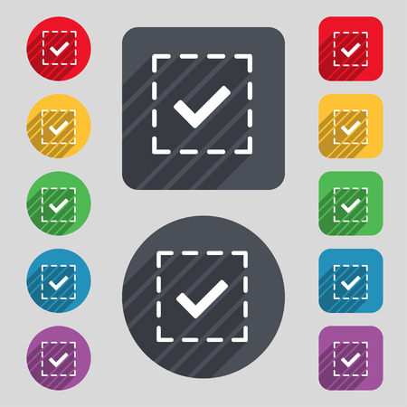 tik: Check mark, tik icon sign. A set of 12 colored buttons and a long shadow. Flat design. illustration