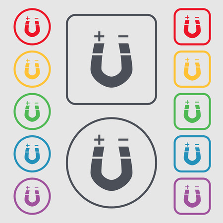 magnetismo: imán de herradura, el magnetismo, magnetizar, atracción icono de la muestra. símbolo en el botones cuadrados con Marco redondo y. ilustración Foto de archivo
