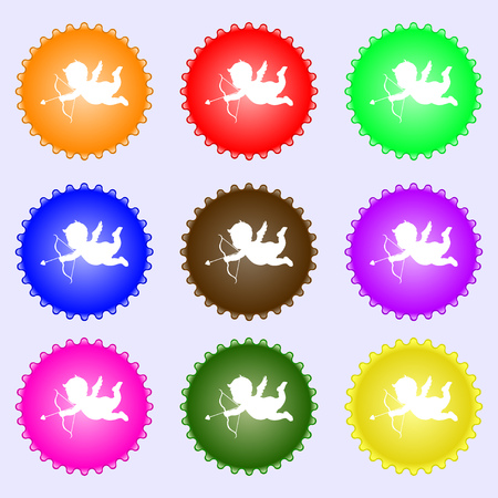 bowstring: Cupid icon sign. Big set of colorful, diverse, high-quality buttons. illustration