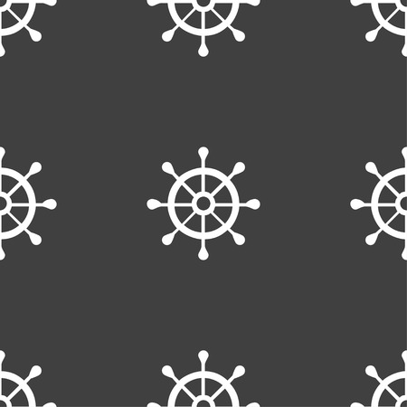 piloting: ship helm icon sign. Seamless pattern on a gray background. illustration