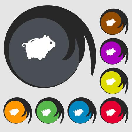 dolar: Piggy icono de se�al de banco. S�mbolos en ocho botones de colores. ilustraci�n