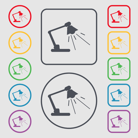lamplight: Reading-lamp icon sign. symbol on the Round and square buttons with frame. illustration