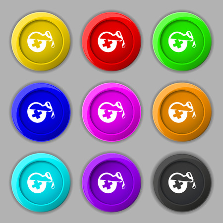 decanter: life healing potion decanter bottle icon sign. symbol on nine round colourful buttons. illustration