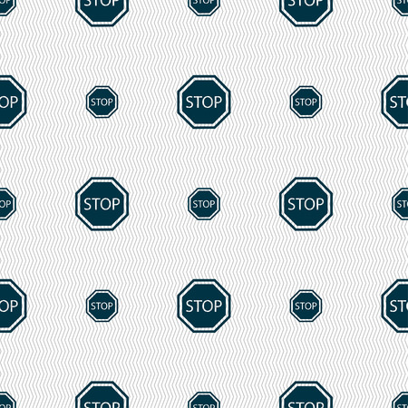 slow down: Stop icon sign. Seamless pattern with geometric texture. illustration