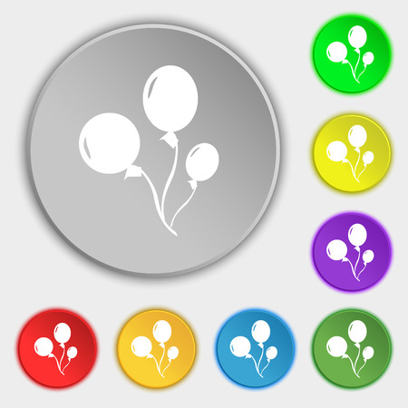 Balloons icon sign. Symbol on eight flat buttons. illustration Stok Fotoğraf