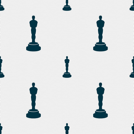 oscar: Oscar statuette icon sign. Seamless pattern with geometric texture. illustration