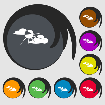 cutouts: sun behind cloud sign icon. Symbols on eight colored buttons. illustration